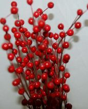 Unbranded Red Holly Berry Stems 16 Inches Set Of Five Decoratations image 6