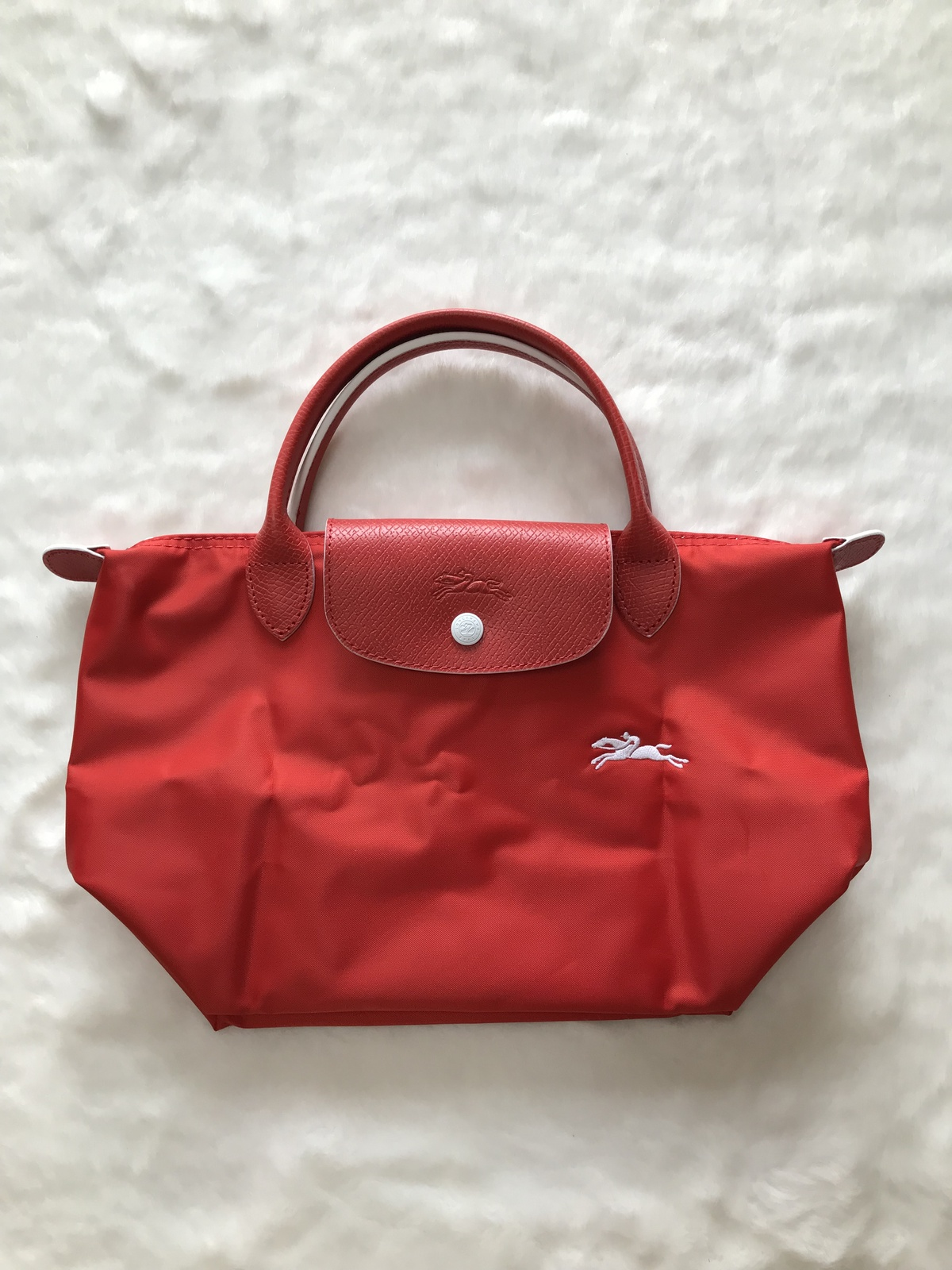 Longchamp Club Collection Horse Embroidery Short Handle Mini Handbag Vermilion