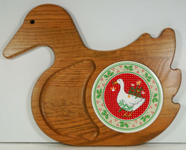 Vintage Country Christmas GOOSE Cutting Board Oak & Tile Missouri Vermil... - $14.99