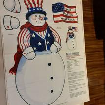 Daisy Kingdom Patriotic Snowman Door 1 yard Panel Cotton Fabric - $7.91