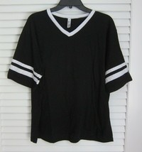American Apparel 50/50 Football Jersey V Neck T Shirt Black sz XXL - $19.27