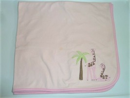 Gymboree Pink IN THE JUNGLE Giraffe Baby Blanket Palm Trees Cotton Girl ... - $32.65