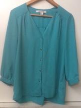 Forever 21 Button V Neck 3/4 Length Sleeve Blue Green Tunic Top M Medium - $12.95
