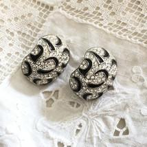 Vintage Black Enamel Rhinestone Runway Clip Earrings - $35.00