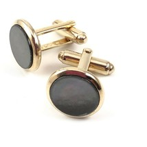 Vtg Gray Mother Of Pearl Stud Cufflinks Gold Mens Costume Jewelry Shield... - $29.99