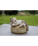 Cat with Welcome Sign -Grey-Garden Statue, Garden Decoration, Home Decor - $44.79