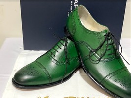 Handmade Men's Green Leather Brogues Style Lace Up Dress/Formal Oxford Shoes image 7