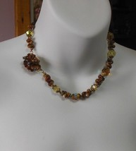 Vintage Crystal/Brown Bead Necklace w/Clip-In Clasp - $34.65