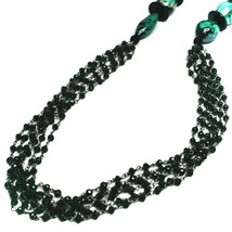 "NECKLACE BLACK, GREEN SPOTTED DROP OVAL MURANO GLASS, MULTI WIRES, 90cm 35"" LONG image 2"