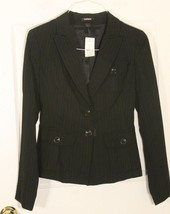 EXPRESS Fitted Black Pinstriped Blazer Jacket Womens 6 NWT Org $178 Cool Buttons - $59.39