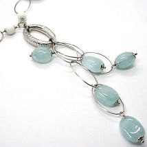 Necklace Silver 925, Spheres Agate White, Aquamarine Drop, Pendant, Ovals image 2