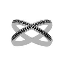 Criss Cross Black Spinel Gemstone 1.2 mm 925 Fine Silver Wedding Ring - $36.30