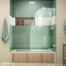 """DreamLine Aqua Uno 34"""" x 58"""" Curved Frameless Glass Tub/Shower Door, Chrome - $220.49"""