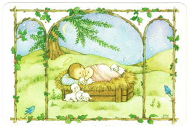 Hallmark Christmas Postcard Jesus in Manger With Lambs Rounded Corners - $1.50