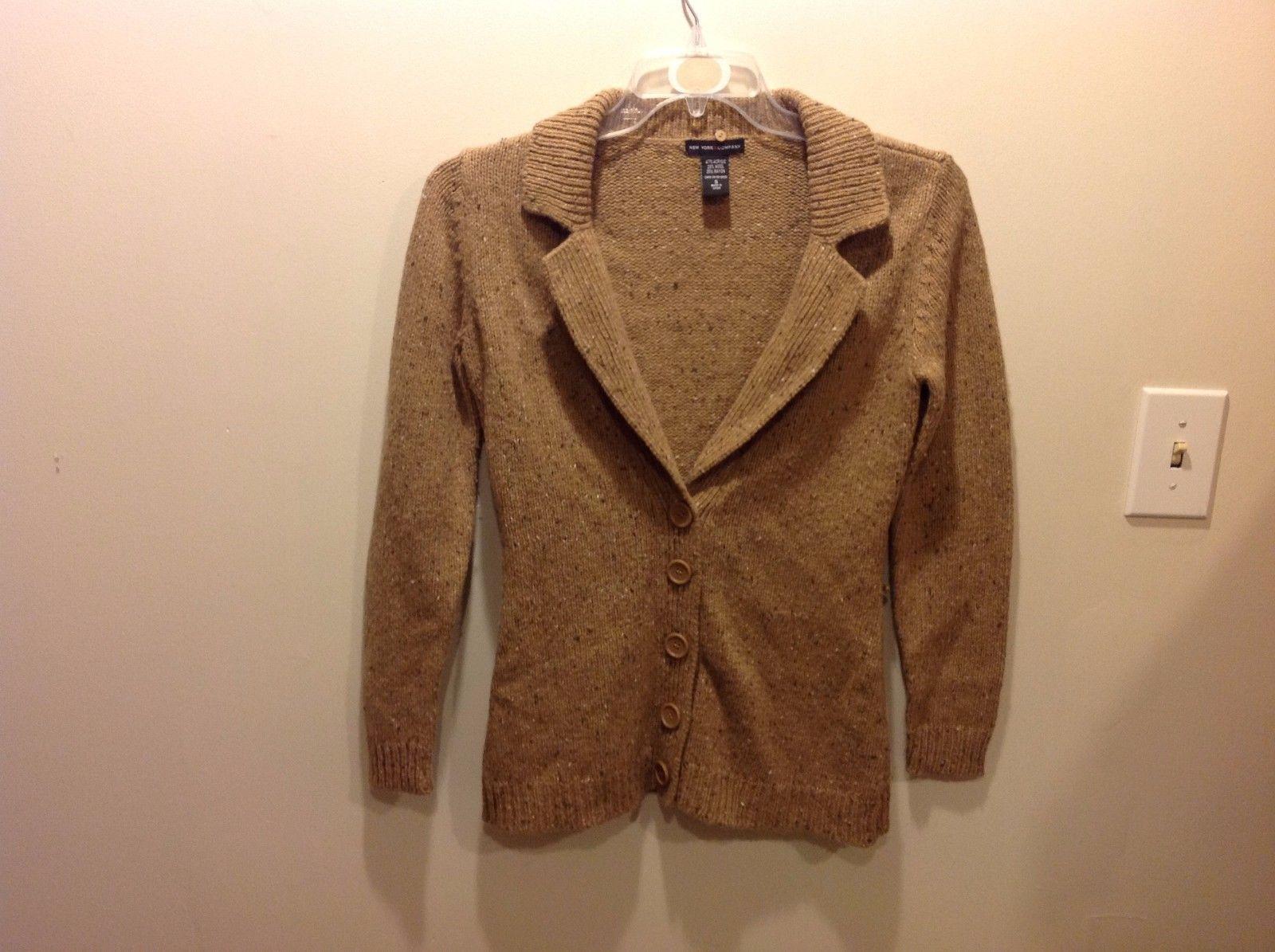 New York & Co Sandy Light Brown Marled Knit Button Up Cardigan Sz SM