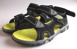 Khombu Kids Boys Black Green River Sandal w Adjustable Straps and Comfort Insole
