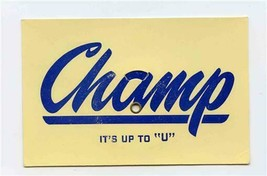 "1950's Chevrolet Champs Soap Box Derby Sand Paper Champ It's Up to ""U"" A... - $57.42"
