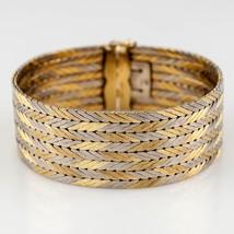 Gubelin Vecchio Stile 18kt Bicolore Oro Gallone a V con Motivo Bracciale W/ - $6,415.27