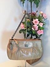 Coach Madison Embossed Metallic Leather Large Beige Wristlet With Chain W26 - $38.69