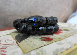 Antique French Jet Snake Bracelet Blue Rhinestone Eyes (excellent condit... - $272.25