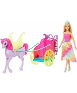 Barbie Dreamtopica Doll Of Pixie with Carriage With Horse Of Fantasia - $261.26