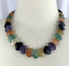 "Multicolor Lucite Disc Beaded Necklace Vintage 20"" Purple Orange Green Y... - $19.75"