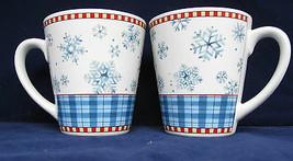 Sakura Debbie Mumm Snowflake Coffee Mugs Cups Winter Christmas StonewarLot of 2  - $22.76