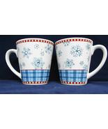 Sakura Debbie Mumm Snowflake Coffee Mugs Cups Winter Christmas StonewarL... - $22.76