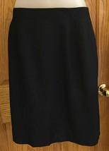 Jones New York Black Pencil Skirt Womens Size 12 Lined Rayon Linen Like Feel - $10.88
