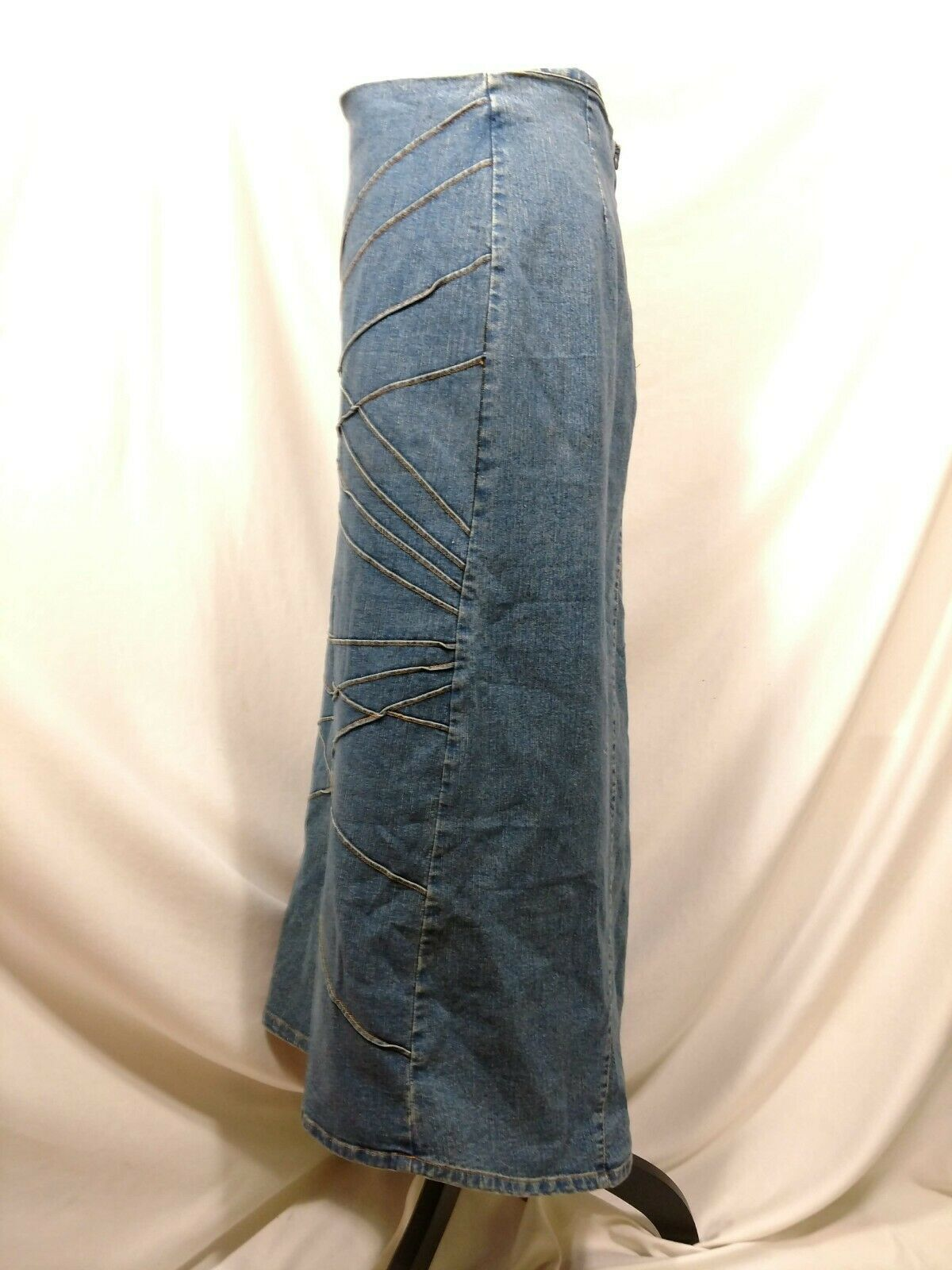 Vtg RT JEANS CO Denim Skirt Long Modest Sz 34 Fits Small Medium Blue Jean Maxi image 3