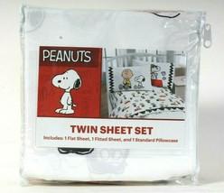 Jay Franco & Sons Peanuts Twin Sheet Set 1 Flat 1 Fitted & 1 Standard Pillowcase - $37.99