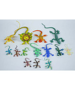 MIXED LOT OF 14 LIZARDS VINTAGE ASSORTED PLASTIC & RUBBER FIGURES TOYS - £6.36 GBP