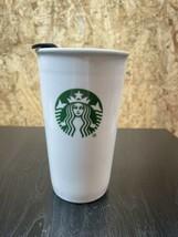 Starbucks 2009 12oz Coffee Cup White Ceramic Travel Tall Tumbler Locking Lid - $14.89