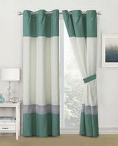 4-Pc Abella Paisley Floral Damask Curtain Set Teal Green Gray Ivory Sheer Liner - $40.89
