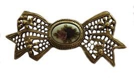 Vintage Brooch Pin Gold Toned Metal Ribbon Porcelain Rose Roses Floral F... - $20.19