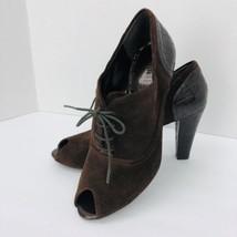 Nickels Brown Suede Peep Toe Lace Heel Pumps 7.5 M Animal Skin Shoe - $24.74