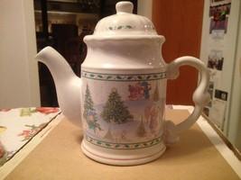 1996 Precious Moments Signature Store Christmas Winter Scene Teapot Retired New - $39.99