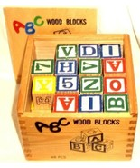 46 Picture Wood Blocks in Wooden Box Made in China - $18.99