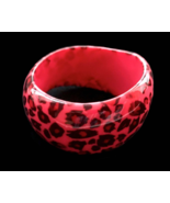 80s Lucite Animal Print Irregular Shape Asymmetrical Chunky Bangle Cuff ... - $52.00