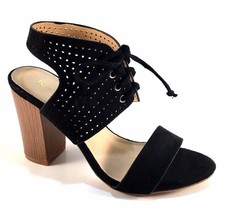 Restricted Carolynn Black Suede Thick Heel Sandals Size 10 - $44.80