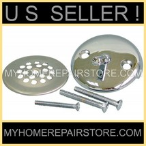CHROME—BATHTUB TUB DRAIN TRIM KIT — OVER FLOW TRIP LEVER PLATE & STRAINE... - $17.77