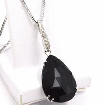 Collar Oro Blanco 750 18K, Gota Espinela Negro, Diamantes, Cadena Veneciano - $1,260.19
