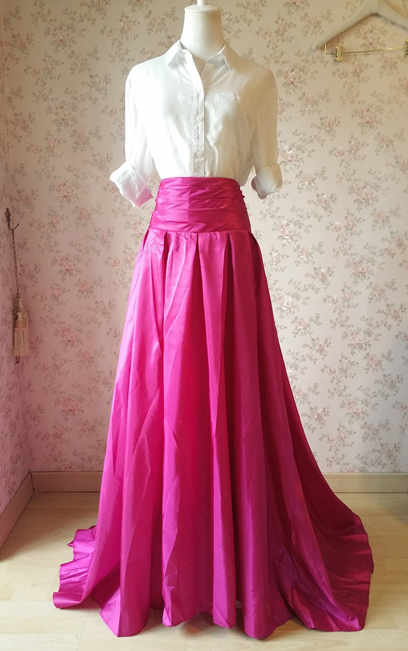 Women High Waist Pleated Evening Skirt Floor Length Maxi Formal Skirts- Fuchsia