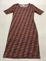 Lularoe S Small Navy Blue Red Orange White Ribbon Wave Julia Dress Womens - $17.99