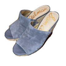Sam Edelman Ranger Platform Wedge Slip-on Sandal Size 7.5 Gray Suede Leather - $22.28