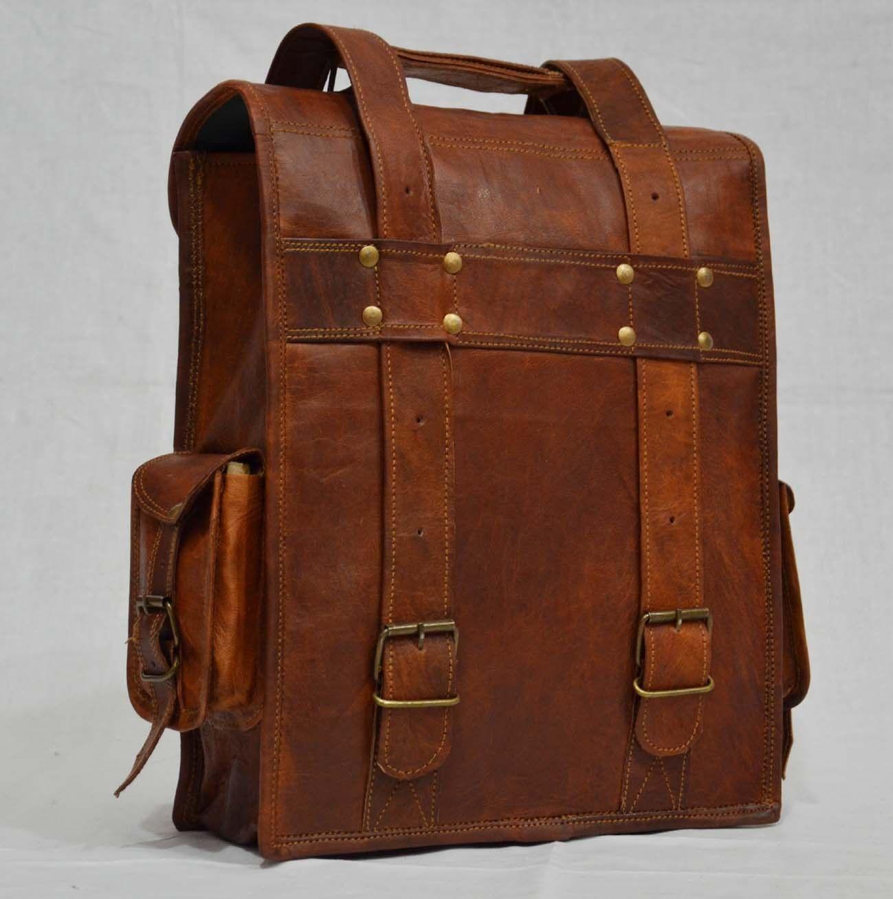 """Men's Genuine Leather 14"""" Laptop Briefcase Backpack Messenger Shoulder Hand Bag"""
