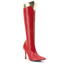 Funtasma Sexy Woman Wonder Superhero Red & Gold Halloween Costume Knee B... - $50.30