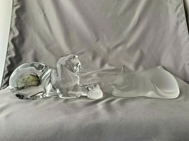 LENOX -1 Clear Crystal Glass 1 Frosted Cat Kitten's - $27.72