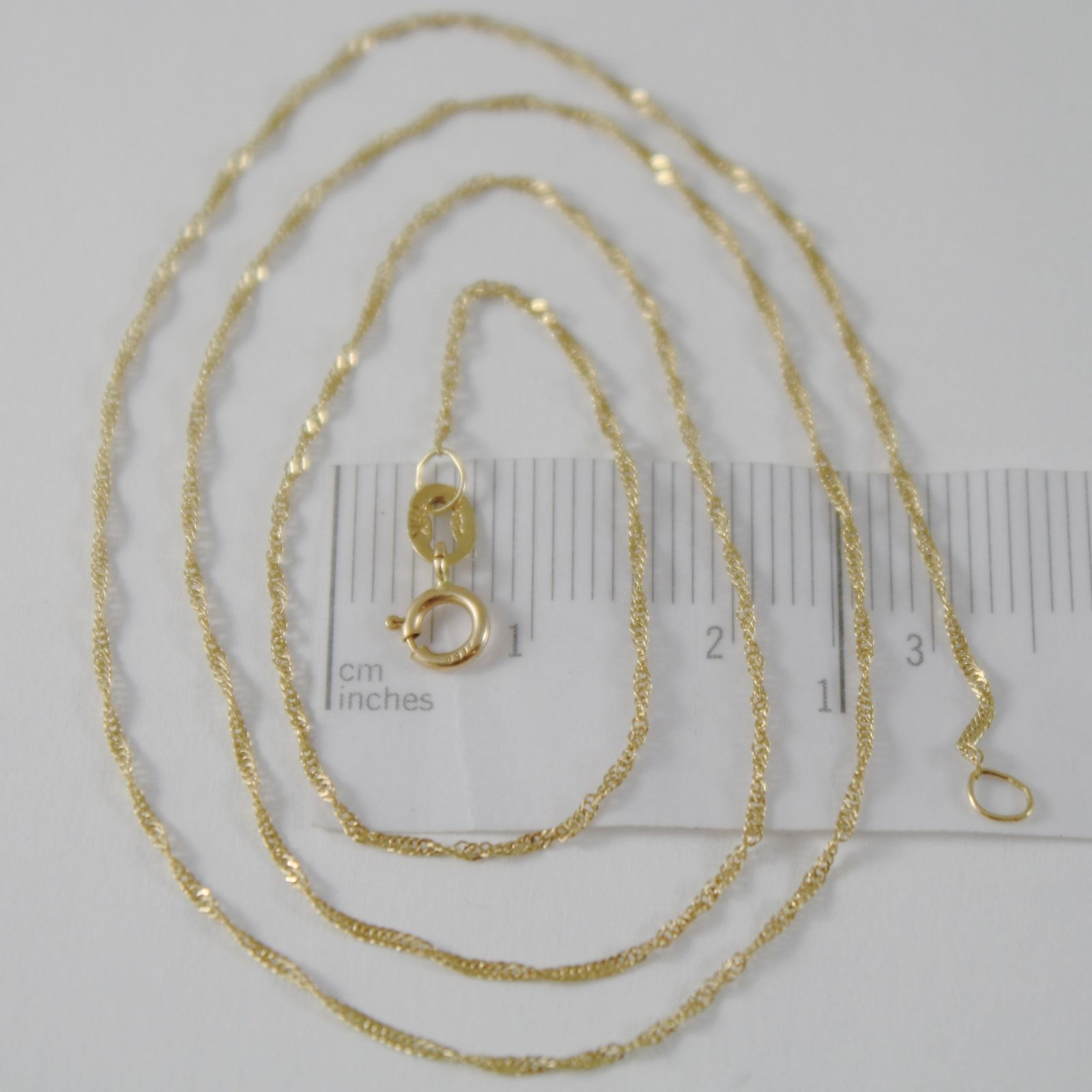 SOLID 18K YELLOW GOLD SINGAPORE BRAID ROPE CHAIN 18 INCHES, 1 MM, MADE IN ITALY