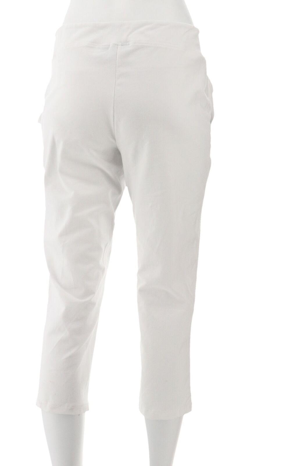 Women with Control Petite Tummy Control Crop Pants White PXXS NEW A292370